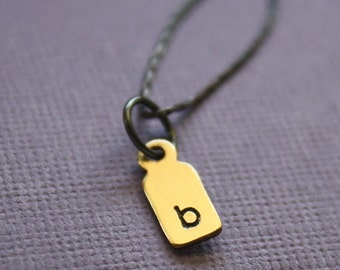 Personalized Initial Necklace Brass Tiny Tag and Blackened Sterling Silver Chain