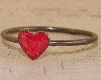 Pink Sweetheart Ring heart ring brass sterling silver and resin