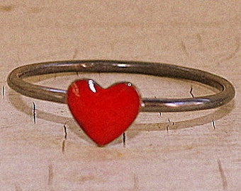 Red Sweetheart Ring heart ring brass sterling silver and resin