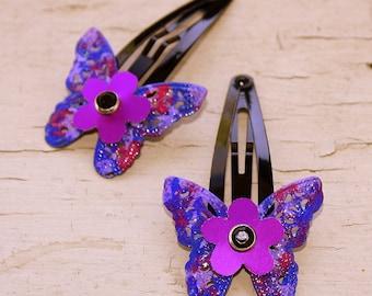 Butterfly Hair Clips purple blue flower barrette brass aluminum and steel