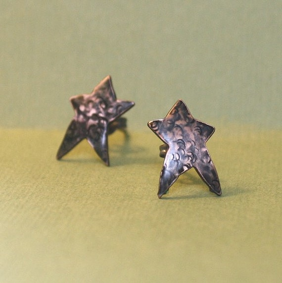 Little Rustic Star Earrings hammered copper and sterling silver posts studs