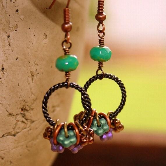 Flower Circle Earrings hoops czech glass dangles