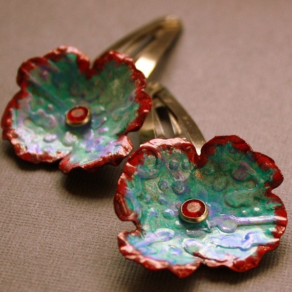 Flower Hair Clips blue red purple barrette copper and steel