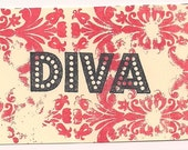 DIVA word Unmounted Rubber Stamp altered art scrapbooks