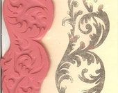 Large Flourish Background Unmounted Rubber Stamp
