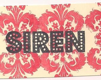 SIREN word Unmounted Rubber Stamp altered scrapbooks