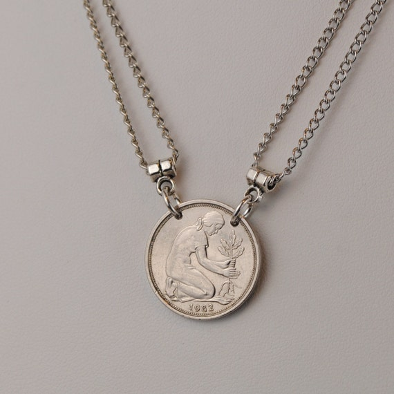 German Coin Necklace Woman Planting Oak Tree