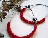 Red Sterling Hoops