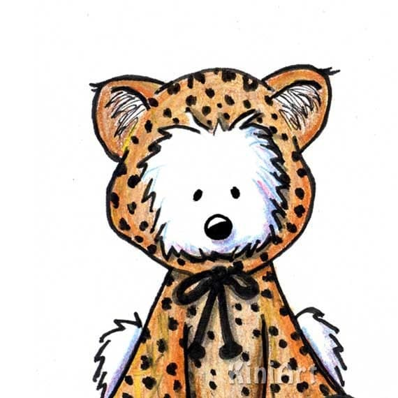 Matted Art Print Westie Terrier Dog Leopard Cub ACEO