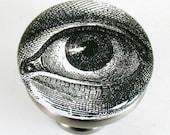 brushed nickel drawer pull with vintage illustration of human eye