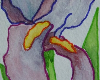 Watercolor ACEO Purple Iris Painting Abstract