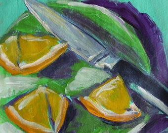 Original Acrylic painting still life of oranges on Recycled Brown paper bag Eco Art 6x6