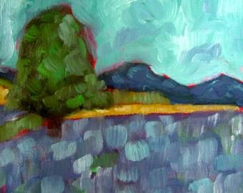 Original Oil Landscape Painting Lavender Field  6x6
