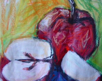 Original Acrylic Apple Mixed Media Painting  6x6 on Recycled Paper