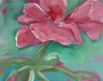 Original Oil Pink Geranium Flower Painting  6x6 SALE