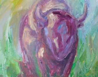 Buffalo Painting Yellowstone Montana Bison wildlife art Acrylic Abstract 11x14 canvas Fine Art
