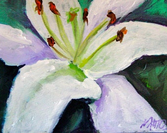 Original White Lily Painting Acrylic Art 5x7 Floral Expressionism SALE