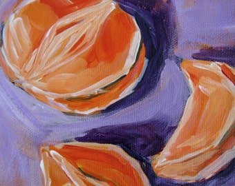 Oranges Still Life Original Painting Acrylic 6x6 Canvas SALE