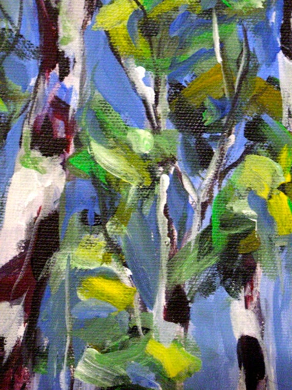 Original 8x16 Acrylic Painting of Tree Trunks in the Sky SAVE the Painting SALE