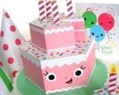 Happy Birthday Strawberry Cake Party Playset Printable Paper Craft PDF