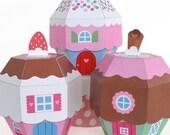 Cupcake Cottage Favor Box Printable Paper Craft PDF