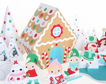 Candy Cane Gingerbread Cottage Playset Printable Paper Craft PDF