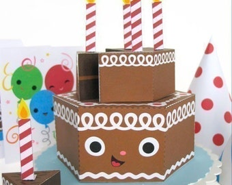 Happy Birthday Chocolate Cake Party Playset Printable Paper Craft PDF