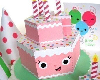 Happy Birthday Strawberry Cake Party Playset Printable Paper Craft PDF