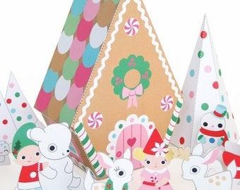 Peppermint Gingerbread Cottage Playset Printable Paper Craft PDF