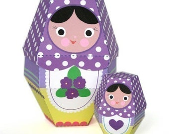 Violet Matryoshka Nesting Doll Printable Paper Craft PDF