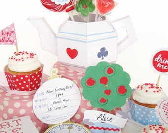 Alice in Wonderland Cupcake Tea Party Set Printable Paper Craft PDF
