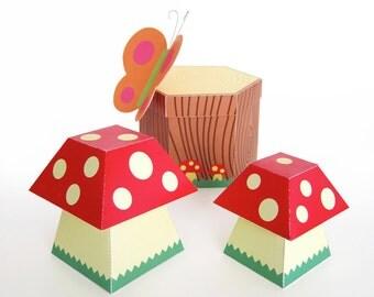 Mushroom and Tree Stump Treat Boxes Printable Paper Craft PDF