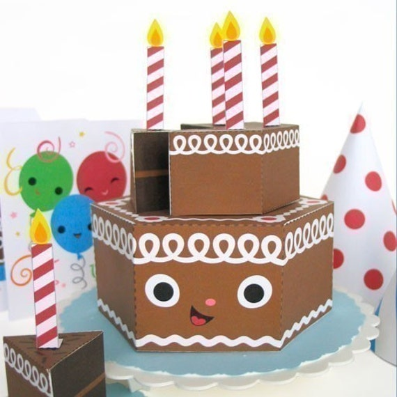 Happy Birthday Chocolate Cake Party Playset Printable Paper