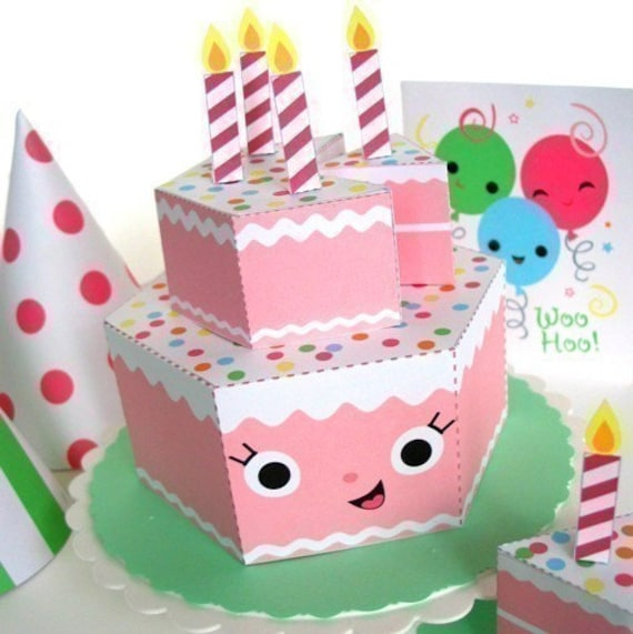 Happy Birthday Strawberry Cake Party Playset Printable Paper
