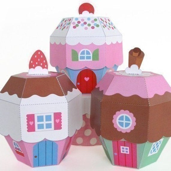 Cupcake Cottage Favor Box Printable Paper Craft PDF