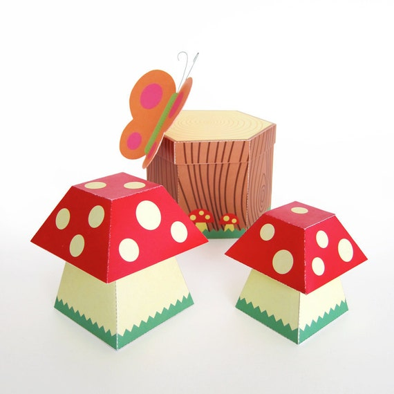 Mushroom and Tree Stump Treat Boxes Printable Paper Craft PDF