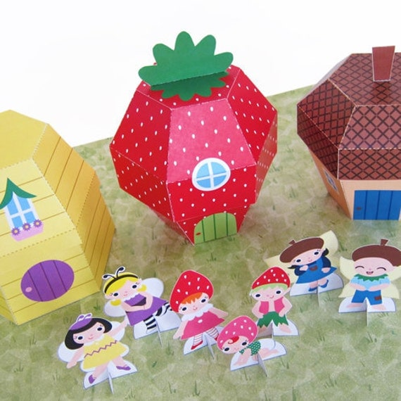 Strawberry, Beehive and Acorn Cottage Favor Boxes Printable Paper Craft PDF