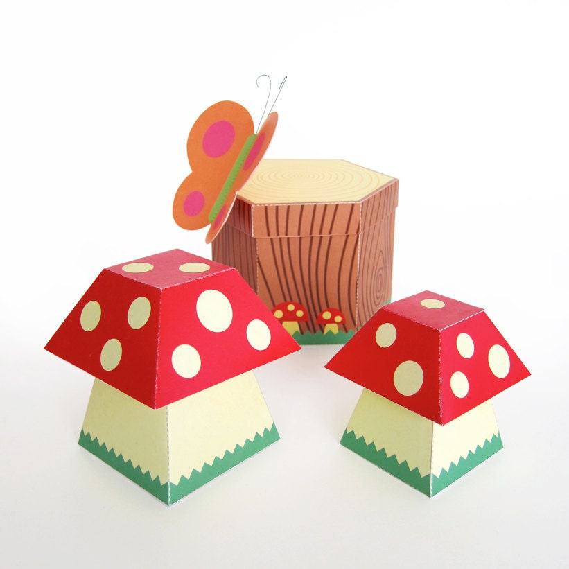 Mushroom and Tree Stump Treat Boxes Printable Paper Craft PDF from ...