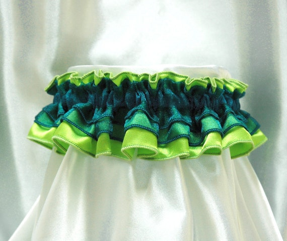 Cute and sexy HonkyTonk garter - teal blue and lime green