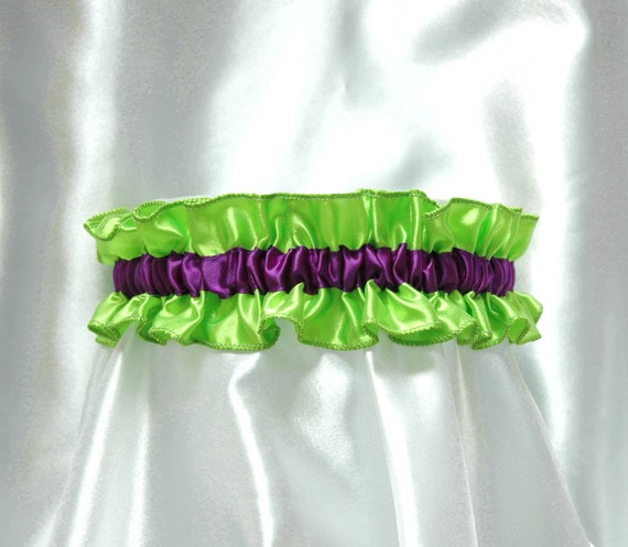 Cute and sexy Minnie garter -  royal purple and lime green