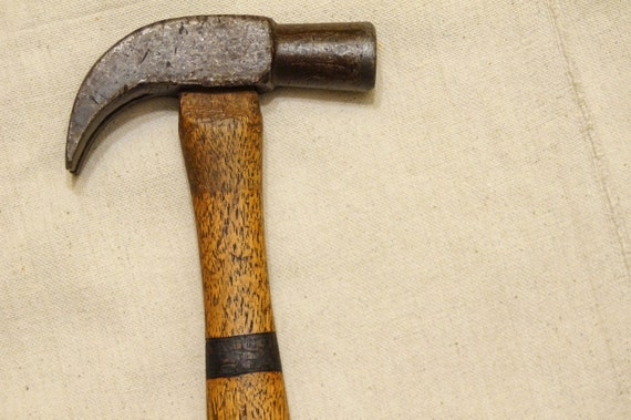 Antique Claw Hammer with woodburnt handle - TEMPORARY REDUCED PRICE