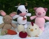 Amigurumi Patterns Crochet Farm Animal Pattern Set Digital Download