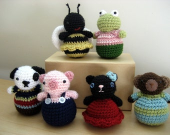 Amigurumi Crochet Roly-Poly Animal Pattern Set Digital Download