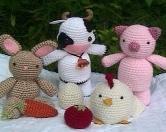 Amigurumi Patterns Crochet Farm Animal Pattern Set Digital Download