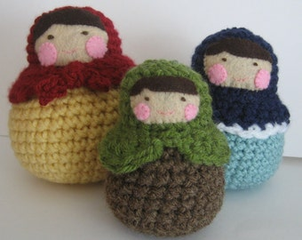 Sale - Amigurumi Crochet Matryoshka Roly-Poly Dolls Pattern Digital Downloads