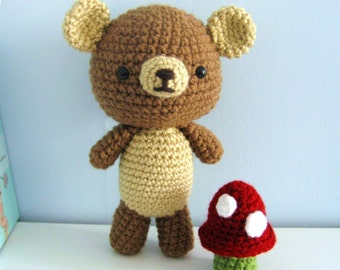 Amigurumi Crochet Bear and Mushroom Pattern Set Digital Download