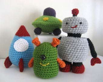 Amigurumi Crochet Robots, Rockets and UFO's Pattern Set Digital Download