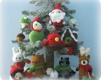 Amigurumi Woodland Christmas Ornament Crochet Pattern Set Digital Download