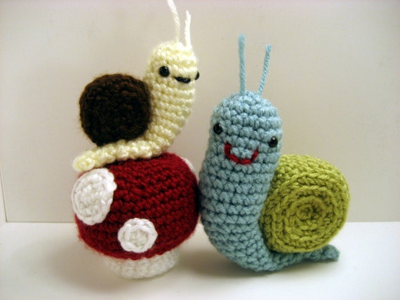 Amigurumi Mushroom Crochet Patterns : PDF Amigurumi Snails and mushrooms Pattern Set