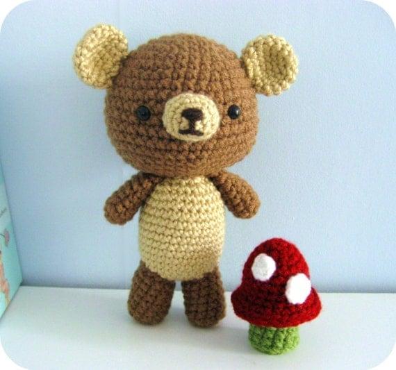 Amigurumi Big Bear : Amigurumi Crochet Bear and Mushroom Pattern Set Digital